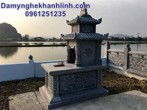 Mẫu mộ đá đẹp hai mái chạm hoa văn tứ quý bán tại Ninh Bình