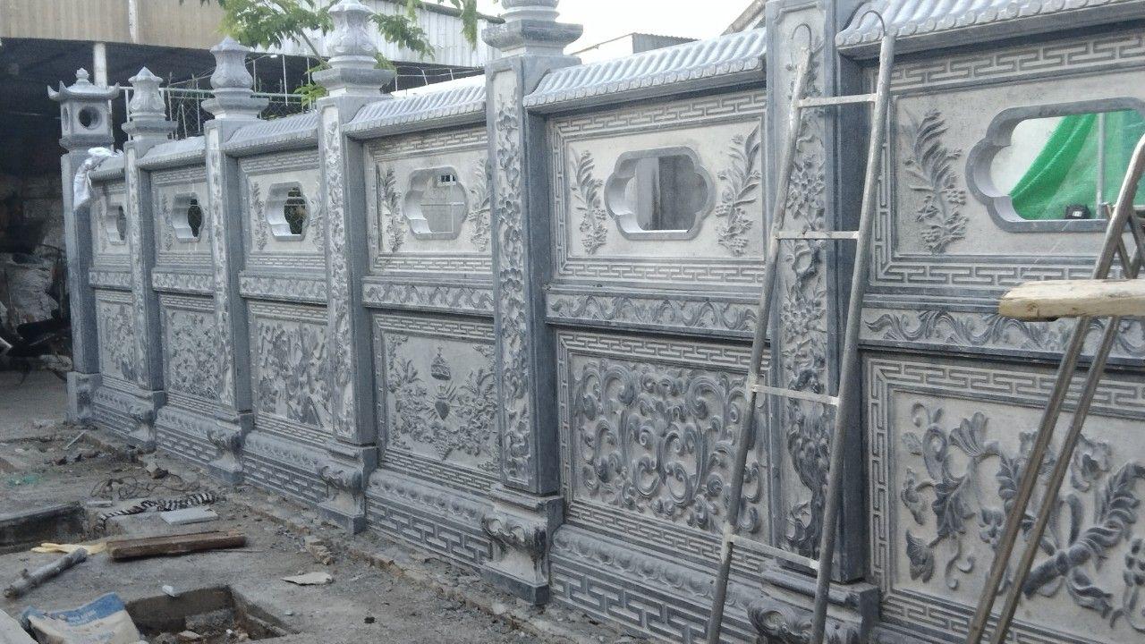 Lắp đặt hàng rào đá - tường rào đá nhà thờ họ cho gia đình chú Tân Nghệ An