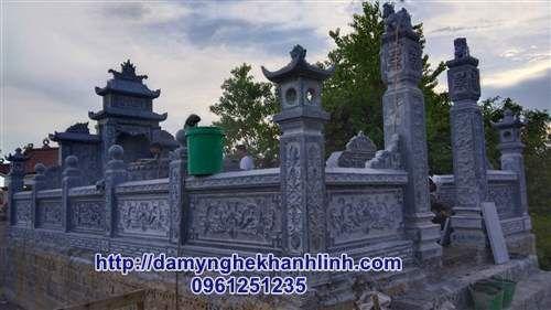 Mẫu khu lăng mộ đá gia đình đẹp chuẩn phong thủy lắp đặt tại Nghệ An