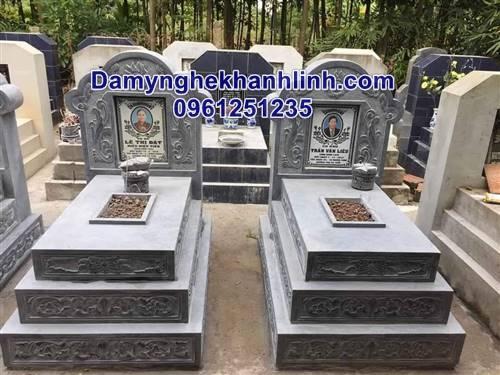 Mẫu mộ tam cấp làm từ đá xanh thiết kế hiện đại giá tốt