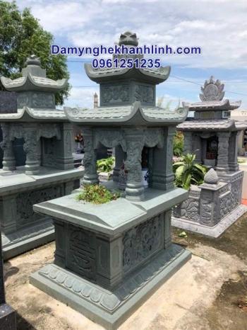Mẫu mộ đá hai mái chạm tứ linh thiết kế cao cấp