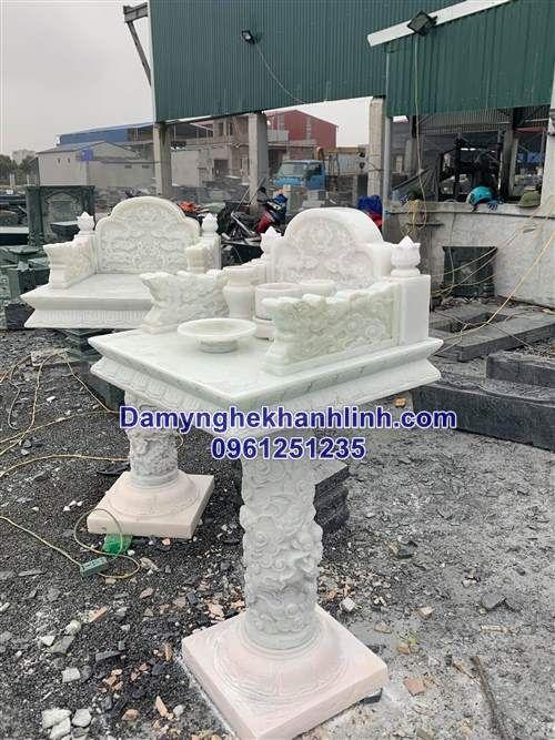 Mẫu bàn thờ thiên bằng đá trắng đẹp chuẩn phong thủy