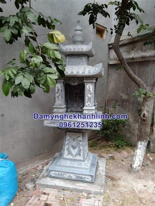 Cây hương đá bàn thờ thiên bằng đá chân cột vuông hai mái