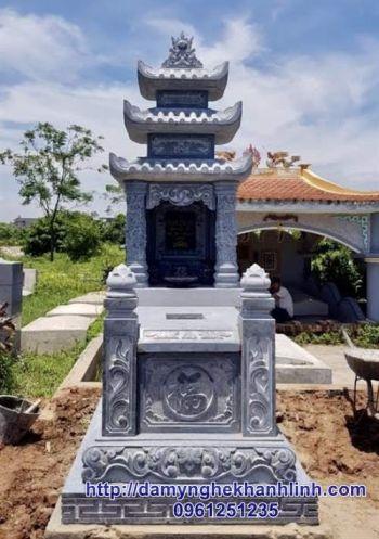 Mộ đá ba mái đao - mẫu mộ ba mái đá xanh tự nhiên tuyệt đẹp