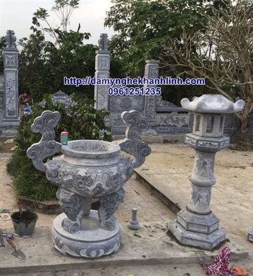 Mẫu lư hương đá - đèn đá cho khu lăng mộ