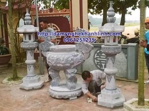 Mẫu lư hương đá - đèn đá xanh cho nhà thờ họ