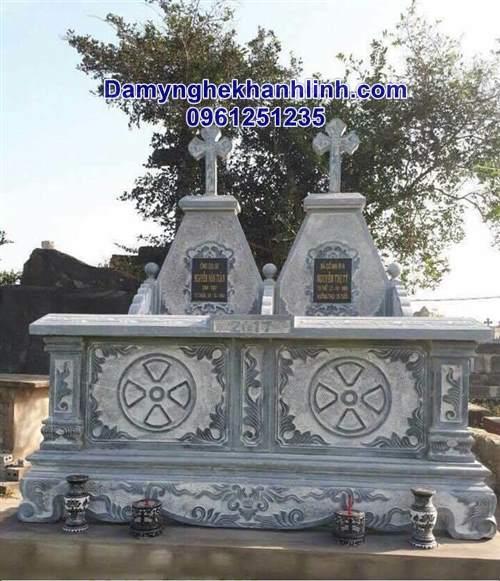 Mẫu mộ đá công giáo đôi