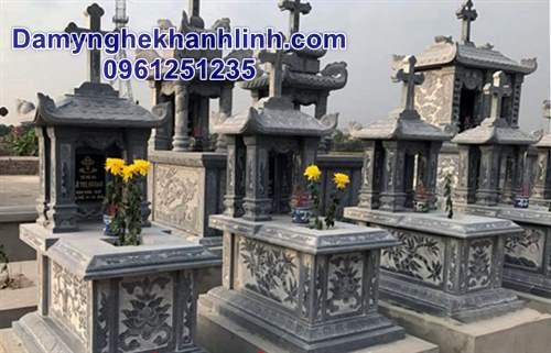 Mẫu mộ đẹp bằng đá mộ đá công giáo một mái