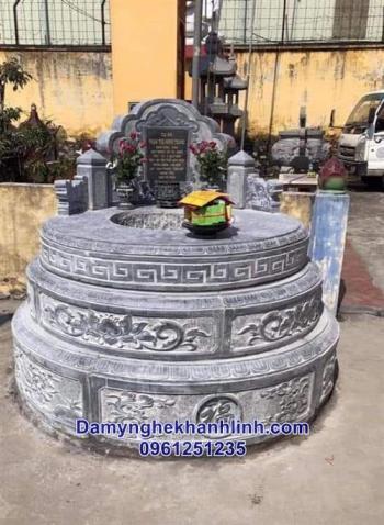 Mẫu mộ đá tròn đẹp suất sắc làm từ đá xanh nguyên khối