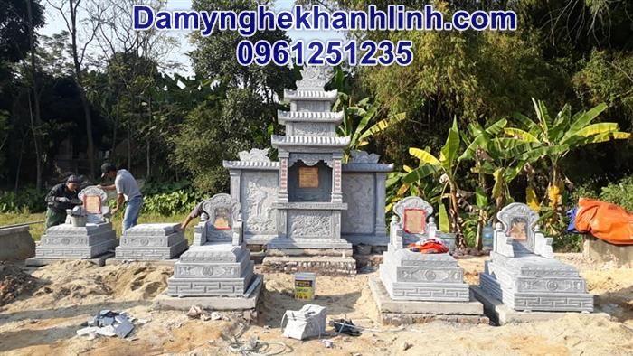 Mẫu mộ đá tam cấp thiết kế đơn giản chuẩn phong thủy